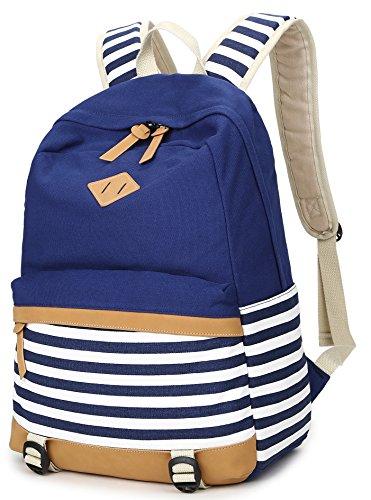Geek-M Canvas Backpack Nautical Striped School Rucksack Satchel for Teens Girls (C8893 Blue)]()