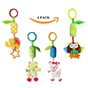 Infant Baby Rattle Toys, Kids Stroller Hanging Bell, Newborn Baby Car Crib Stroller Handbells Toys Cute Wind Chime and Squeak (4 Pack)