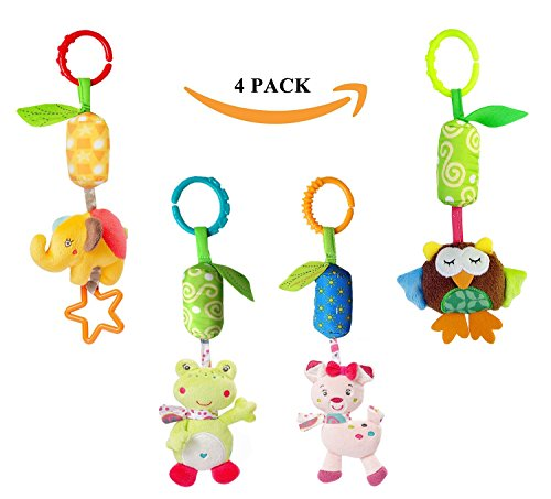 Infant Baby Rattle Toys, Kids Stroller Hanging Bell, Newborn Baby Car Crib Stroller Handbells Toys Cute Wind Chime and Squeak (4 Pack) by Leedemore