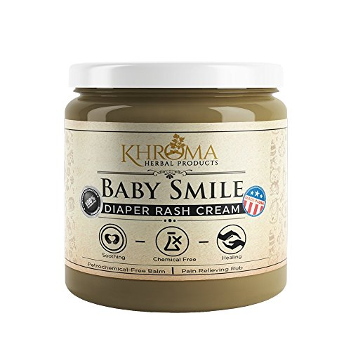 Bottom Cream (Baby Smile - Organic Soothing Diaper Rash Cream - 2 oz in Glass Bottle - With Lavender, Calendula Flowers, Shea Butter)