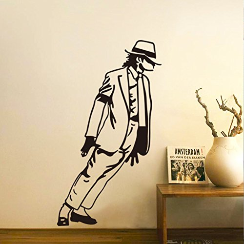 Fangeplus(TM) DIY Removable Superstar Michael Jackson Moonwalk Dance in Smooth Criminal MJ YOU ARE NOT ALONE Art Mural Vinyl Waterproof Wall Stickers Room Decor Decal Sticker Wallpaper 21.3''x13'' (Jackson Sticker Michael Decal)