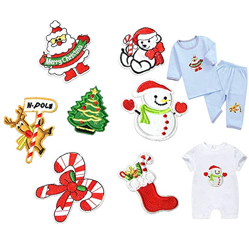 Christmas Xmas Iron On Patches Sew On Appliques with Ironed Adhesive Santa Tree Deer Snowman Stockings Embroidered Decorative Repair Patches for Shoes Hat Bag Clothing (Appliques Embroidery Christmas)