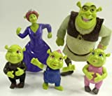 Shrek Ogre 5 Piece Set Birthday Cake Topper Set Featuring Shrek, Pincess Fiona, and Baby Shrek Figures