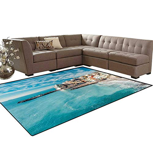 Italy Room Home Bedroom Carpet Floor Mat Panorama of Old Italian Fishing Village Beach in Old Province Coastal Charm Image Door Mats Area Rug 6'6
