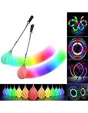 Papi Dada LED POI-ballen - 2021 Verbeterde zacht draaiende POI speelgoedset voor beginners en professionals, regenboogkleuren en stroboscoopeffect, 1x paar gloeiende POI-ballen