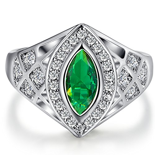 Narica Womens Brilliant 5mmx10mm Marquise Cut Emerald Quartz CZ Engagement Ring