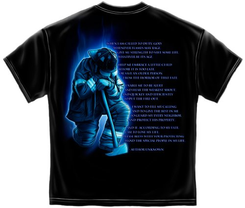 - Firefighter Short Sleeve Shirts, 100% Cotton Casual Mens Shirts, Firemans Prayer Firefighter T-Shirts for Men Or Women (X-Large)