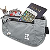 Zero Grid Money Belt w/RFID Blocking - Concealed Travel Wallet & Passport Holder, Ash