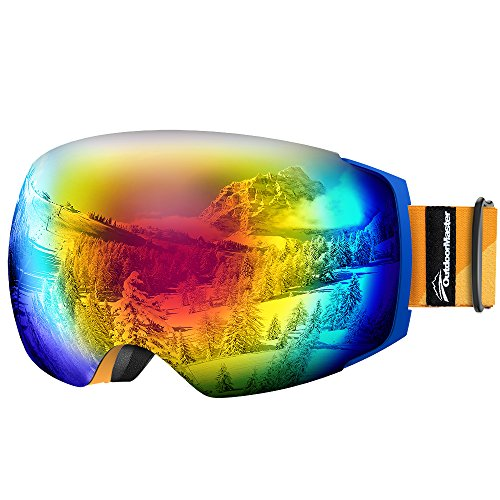 OutdoorMaster Ski Goggles PRO - Frameless, Interchangeable Lens 100% UV400 Protection Snow Goggles for Men & Women ( Blue Frame Orange Strap VLT 15% Grey Lens with REVO Red and - Lenses What Revo Are