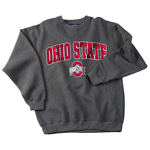 (Elite Fan Shop NCAA Men's Ohio State Buckeyes Crewneck Sweatshirt Dark Heather Arch Ohio State Buckeyes Dark Heather Large)