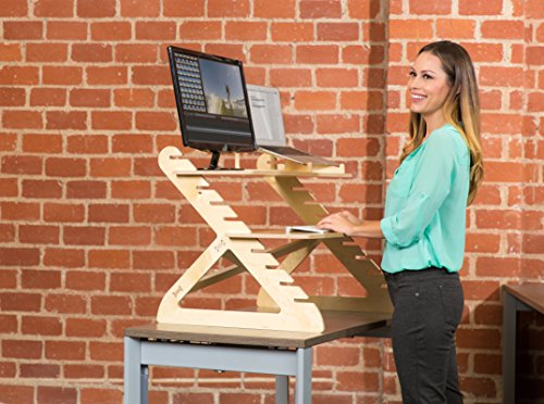 Readydesk 2 - Adjustable Standing Desk - Converts any Desk To A Dual Monitor Stand Up Desk - Designed and Made In USA of Sustainable Birch Wood - Birch Color