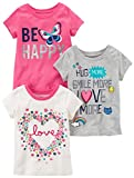 Carter's Baby Girls' Toddler 3-Pack Short-Sleeved T-Shirt, White Love/Grey/Pink Butterfly, 3T