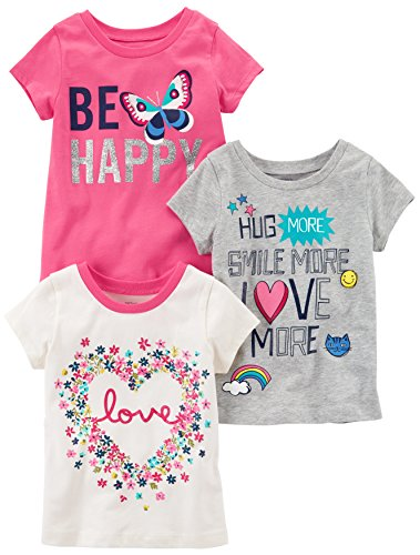 Carter's Baby Girls' Toddler 3-Pack Short-Sleeved T-Shirt, White Love/Grey/Pink Butterfly, 4T