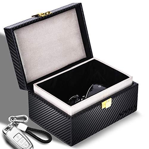 Aovaza Faraday Box, Signal Blocker Box voor autosleutels, Anti-diefstal sleutelkluis, Sleutelhanger lederen sleutelloze…