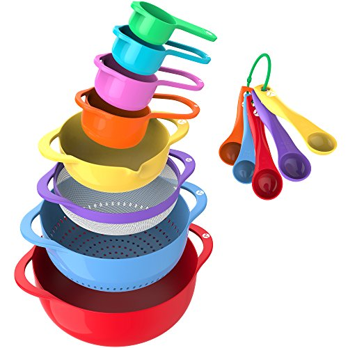 Mixing Bowl Dinnerware - Vremi 13 Piece Mixing Bowl Set - Colorful Kitchen Bowls Colander Mesh Strainer with Handles Measuring Cups and Spoons - BPA Free Plastic Nesting Bowls with Easy Pour Spout for Baking Cooking and More