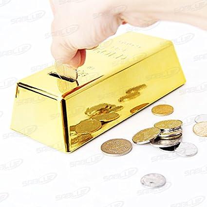 SABLUE Novelty Gold Bar Bullion Shaped Money Box Coin Bank Saving Pot Door Stop Paperweight Golden