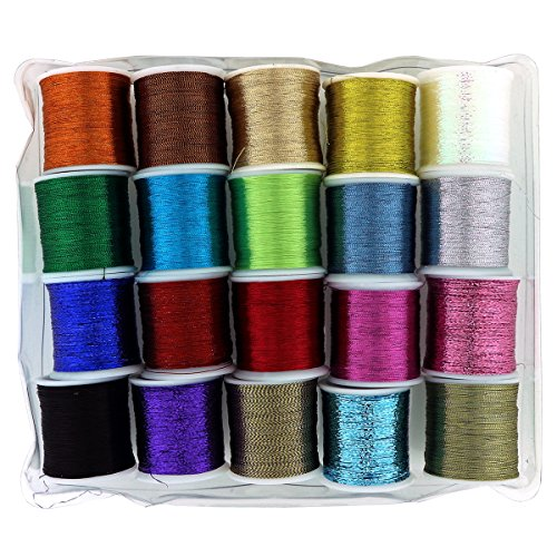 20 PC Metallic Glittery Polyester Sewing Thread Set by Curtzy – All Purpose Assorted Colours Embroidery Threads Spools Pack – Ideal for Machine Sewing or Hand Needle Work – Best Kit Women Men & Kids