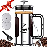BASA French Press Coffee Maker, 34oz Coffee and Tea Makers with 4 Level Filtration System,2 Extra Filters,2 Spoons, BPA Free/FDA Approved,304-Grade Stainless Steel, Heat Resistant Borosilicate Glass Review