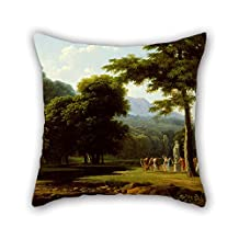 Oil Painting Bertin, Jean Victor - Landscape Pillowcase Best For Drawing Room Boys Play Room Father Club Couch 16 X 16 Inches / 40 By 40 Cm(each Side)