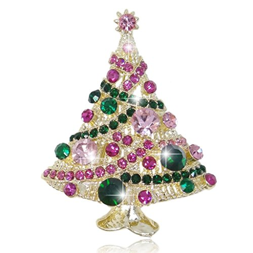 EVER FAITH Streamer Star Wishing Tree Brooch Pin Green w/Pink Austrian Crystal ()