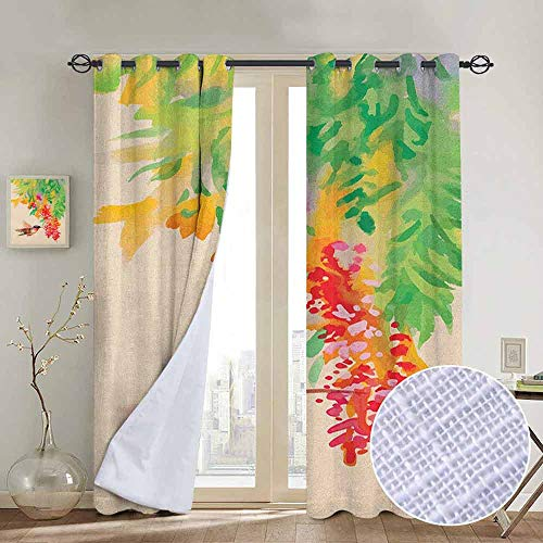NUOMANAN Living Room Curtains Hummingbird,Image of Colibri Bird and Flowers Exotic Tree Bloom in Watercolor Effect, Green Red Beige,Adjustable Tie Up Shade Rod Pocket Curtain 54