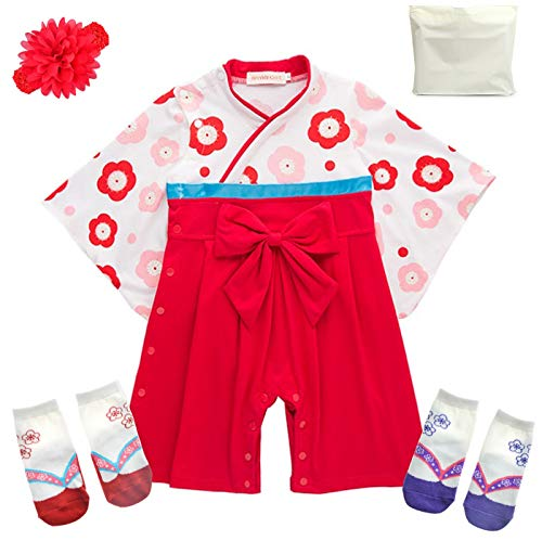 Baby Kids Girls Japanese Hakama Style Coverall Kimono Robe Rompers Headband Geta Style Socks Set(Red 22-28months)]()