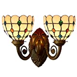 Bieye Tiffany Style Stained Glass Jewels Wall Sconces with 7 inches Handmade Shade (Multi-colored Jewels Double Uplight)