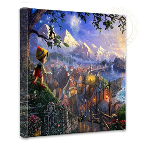 Thomas Kinkade - Gallery Wrapped Canvas , Pinocchio Wishes Upon A Star , 14