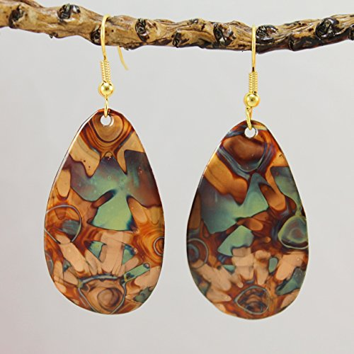 Burnt Copper Earrings - Green Tones ()