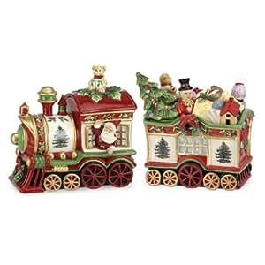 Amazon.com: Spode Christmas Tree 2-Piece Train Set Covered Cookie Jar, 9.5-Inch/8.75-Inch ...