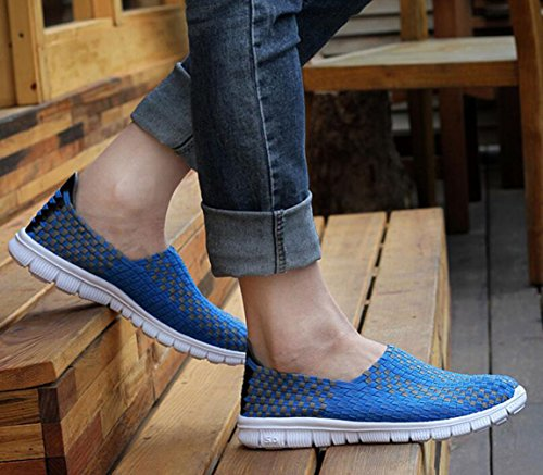 5 Light Weave 2 Women's Shoes Fitness Casual Unisex 5 Sandal Size On Slip GFONE Flat Elastic Royalblue 9 Weight Men's Walking FatHXxnn1q