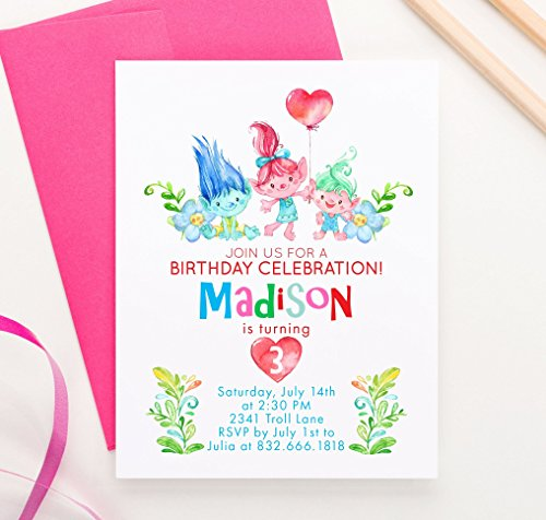 Personalized Trolls Birthday Party Invitations With Envelopes Your Choice Of Quantity And Envelope Color