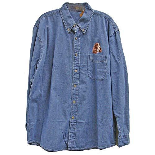 Cherrybrook Dog Breed Embroidered Mens Denim Shirts - Small - Denim - English Springer Spaniel