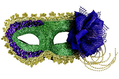 Renaissance 2000 Sequin & Glitter Mask, Purple/Green/Gold