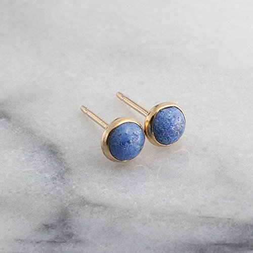 Gold Stud Earrings, Lapis Denim Stone Gold Studs 4mm by Fashion Art Jewelry