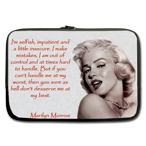 Casecoco Custom American Beauty Marilyn Monroe Quotes Sleeve for Macbook Pro 13 Inches and Laptop 13 13.3 Inches