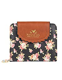 Badiya Women's Vintage Cute Floral Zip Mini Wallet Short Design Coin Purse