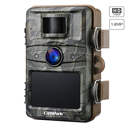 Campark Trail Camera 14MP 1080P Game&Hunting Camera Night Vision Motion Activated up to 20m with 2.4' LCD 44 Pcs Invisible IR LEDs IP66 Waterproof Design for Wildlife Hunting and Home Security