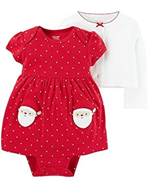 Just One You 2 Piece Infant Girl Red Holiday Polkadot Santa Dress Long Sleeve Cardigan