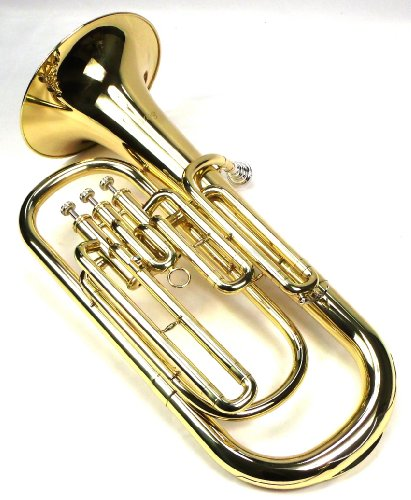 Advanced Monel Pistons Bb Baritone Horn w/Case and Mouthpiece-Gold Lacquer Finish by Moz
