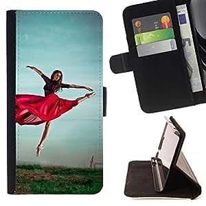 Momo Phone Case / Flip Funda de Cuero Case Cover - Baile Rojo Falda Chica Ejercicio naturaleza Cielo - Samsung Galaxy Note 5 5th N9200