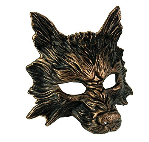 Metallic Copper Scary Wolf Adult Costume Mask