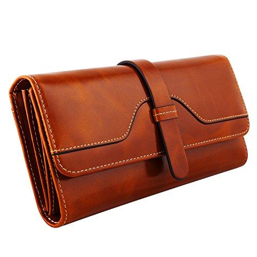 Kattee Vintage Women's RFID Blocking Genuine Leather Trifold Wallets