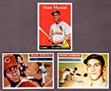 Stan Musial 1958 Topps, Brooks Robinson, Frank Robinson 1956 Topps Rookie (3) Custom Card Lot (Cards That Never Were) (Orioles) (Reds) (Cardinals)