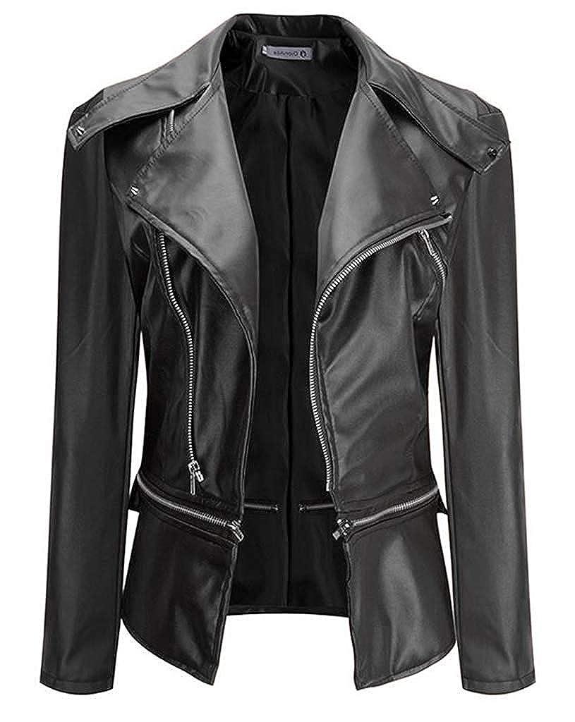 VERNASSA Womens Faux Leather Motorcycle Biker Short Coat Jacket Slim Zipper Jacket