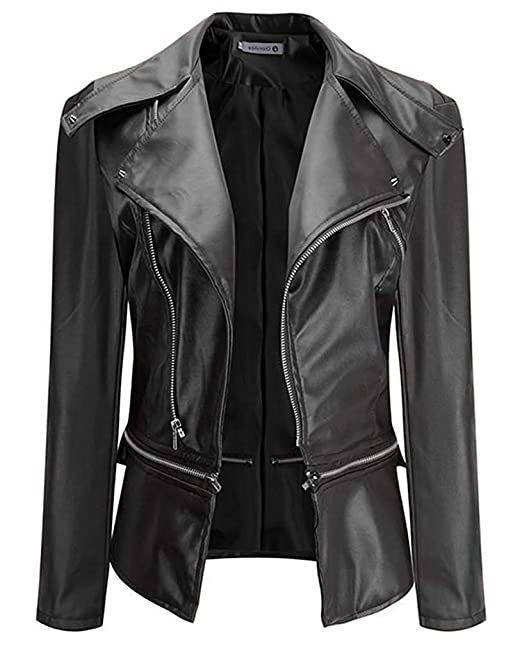 VERNASSA Womens Faux Leather Motorcycle Biker Short Coat Jacket Slim Zipper Jacket