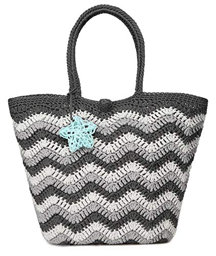 Daisy Rose Large Handmade Crochet Summer Beach Tote Bag with Inner Pouch, Gray ()