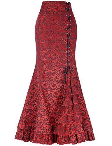 chouyatou Women's Retro Lace-Up Drawstring Tiered Ruffle Maxi Long Mermaid Pencil Skirt (Small, Red)
