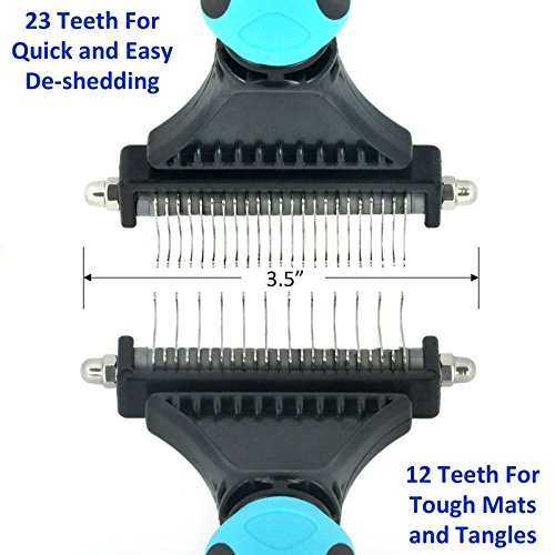Dog & Cat Dematting/Deshedding Rake/Comb with Double Sided Blade. Strips Out Mats & Knots. Removes Loose Undercoat. Ergonomic Soft Grip Handle. Best Tool During Shedding Season by Vets Pride USA (Image #3)