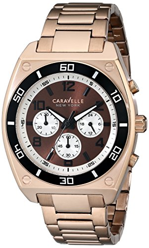 caravelle-new-york-mens-45a110-analog-display-japanese-quartz-rose-gold-watch